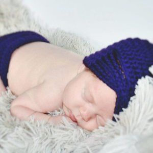 Nwot Purple Crochet 0-3 month diaper cover and hat